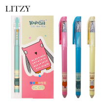3/6Pcs/set Cute Erasable Pen 0.5mm Black/Blue ink Magic Gel For School Office Writing Supply Kawaii Student Exam Spare Tool
