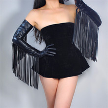 """TECH LONG GLOVES Faux Leather PU 28"""" 70cm Black Extra Long Fringe Tassel Arms Womens Gloves Touchscreen WPU168"""