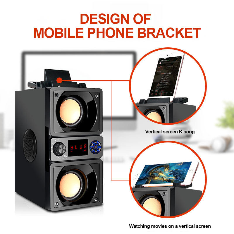 Portable Speaker Bluetooth 5.0 Outdoor Wireless 6D Surround Stereo FM Radio Microphone Support TF Card KTV Party Subwoofer 6