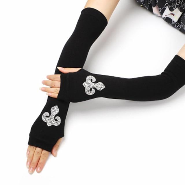 Female Black half finger Long Knitted Warm Driving Mittens Female Cute Fox Sailor Elasticity Dance Rhinestone Punk Gloves H37 1