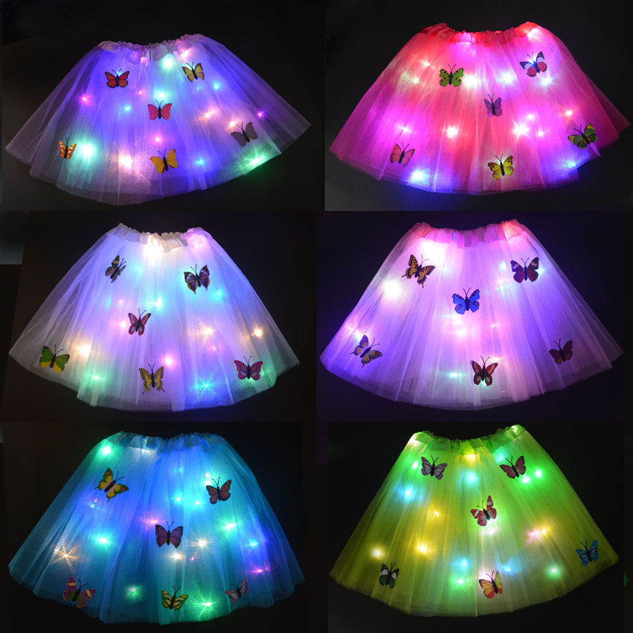 Baby Kids Child Girl LED Light Glow Butterfly Tutu Skirt Neon Luminous Party Ballet Dance Dress Cosplay Costume Stage Wear Gift