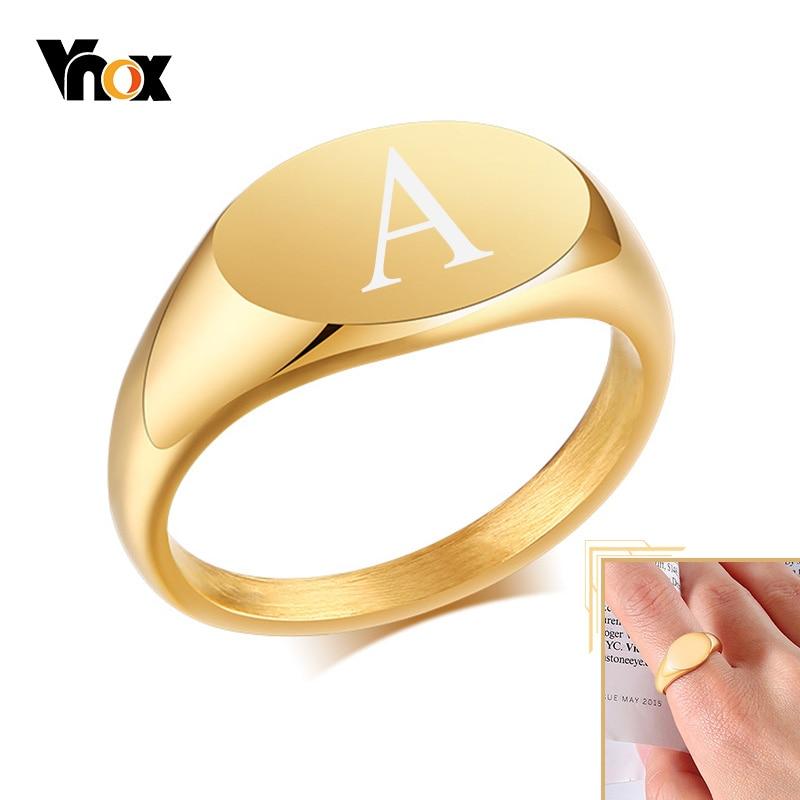 Vnox تخصيص Signet خاتم للنساء ، 9 مللي متر الأولي الذهب اللون الصلبة الفولاذ المقاوم للصدأ خاتم ختم ، الحد الأدنى اسم المعادن مجوهرات هدية