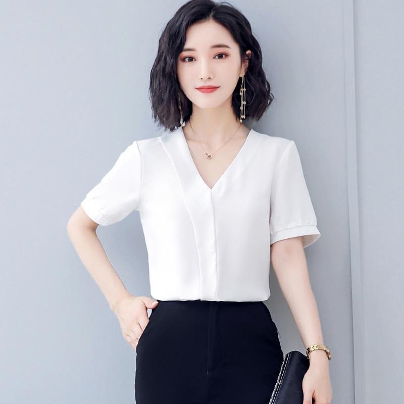 Korean Chiffon Women Blouses Women Solid V-neck Shirt Tops Blusas Mujer De Moda 2020 Woman White Blouse Woman Tops Plus Size XL