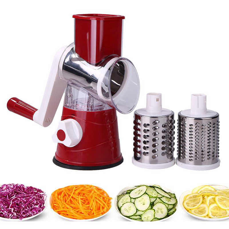 3 In1 Multifungsi Bulat Mandoline Slicer Manual Vegetable Cutter Parutan Sayur Spiralizer Alat Pengiris Kentang Cozinhatoo Gadget