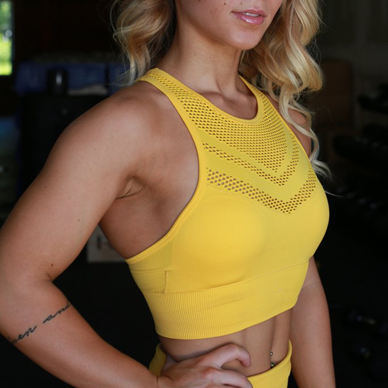 Seamless Sports Bra For Women Gym High Impact Shock Proof Athletic Workout Bra Lace Hollow Out Fitness Tank Top Yellow Yoga Bra