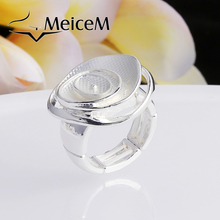 MeiceM Fashion Silver Enamel Rings Trendy Metal Alloy Adjustable Ring Color Flower Ring for Party  Gifts Jewelry Women