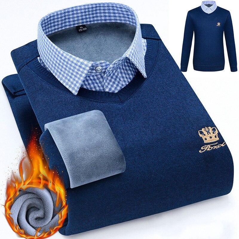 Fall/winter Men Winter Sweater Plus Velvet Thicken Fake Two Winter Pullover Sweater Pullover Men Long Sleeved Shirt Plus Size