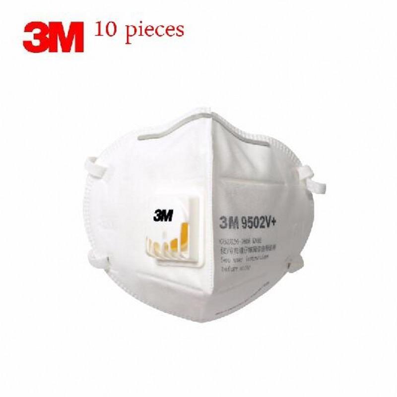 10pcs 3M 9502V+ Dust Mask Particulate Respirator Valve Anti-fog PM2.5 Dust-proof Safety Breathing Masks Face FFP3