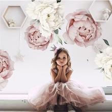 Pegatinas de pared con flores de peonía y acuarela para niños, decoración para habitación, sala de estar y dormitorio, calcomanía de pared Floral, color rosa y blanco