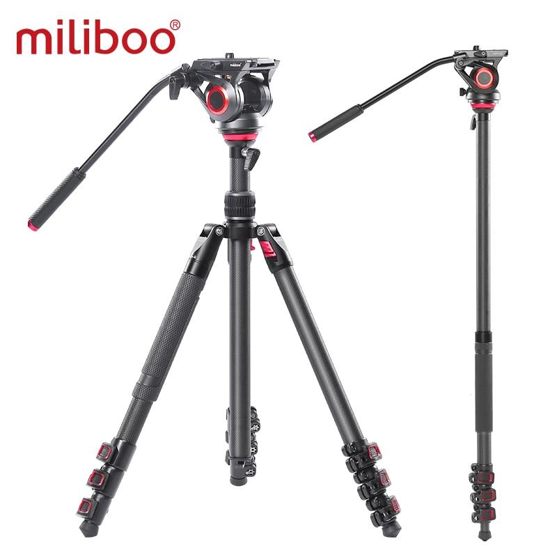 miliboo MUFP Camera Tripod Carbon Fiber Lightweight Compact Tripod with Fluid Drag Head 60mm Leveling Ball for Canon Nikon Sony 1