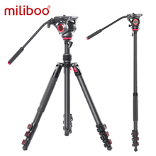 miliboo MUFP Camera Tripod Carbon Fiber Lightweight Compact Tripod with Fluid Drag Head 60mm Leveling Ball for Canon Nikon Sony