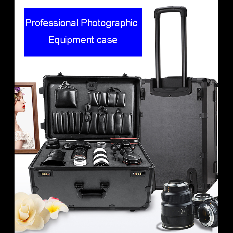 High Quality Safety Protection Hand-pulled Toolbox Pull-rod Box Large Pulley Suitcase Outdoor Photography Lamp Holder Package