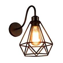 Lámpara de pared Industrial E27 Base alambre jaula Estilo Vintage luces de pared negro aplique de pared para cabecera dormitorio cafetería tienda