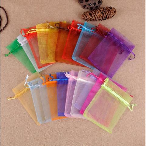 Bolsas de Embalagem de Jóias Bolsas de Festa de Aniversário Presente de Natal Lote Atacado 9x12cm Colorido Drawstring Organza Doces Bolsas 100 Pçs –