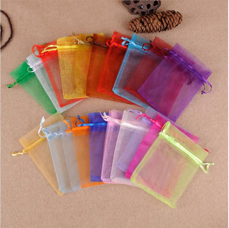 100pcs/lot Wholesale 9x12cm Colorful Drawstring Organza Bags Jewelry Candy Packaging Bags Birthday Party Christmas Gift Pouches