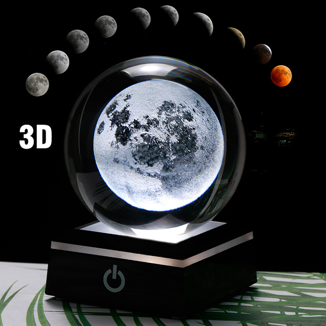 3D Moon Crystal Ball LED Base Laser Engraved Glass Globe Home Decoration Crystal Craft Sphere Ornament 8cm 3
