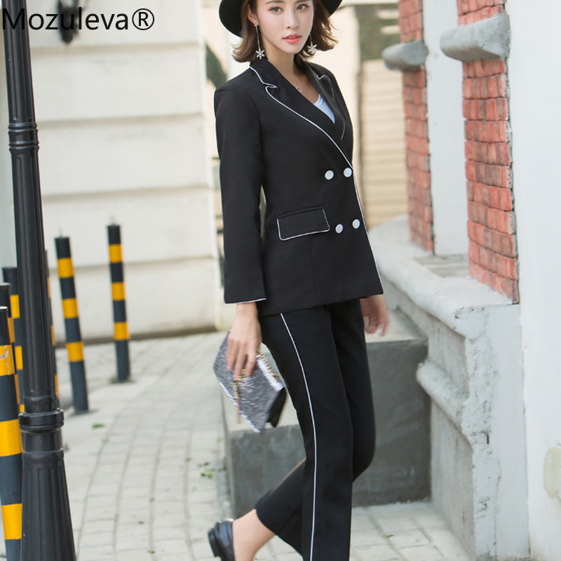 Mozuleva Women Black Work Pant Suits Office Lady Fashion Uniform Jacket Blazer & High Waist Ankle-Length Pant Femme Outfit