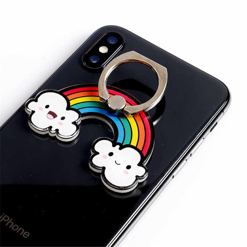 Universal iring โทรศัพท์มือถือการ์ตูน Rainbow แคคตัสโทรศัพท์มือถือเชลล์ DIY ตกแต่งโทรศัพท์มือถือแหวน Grip มือถือ