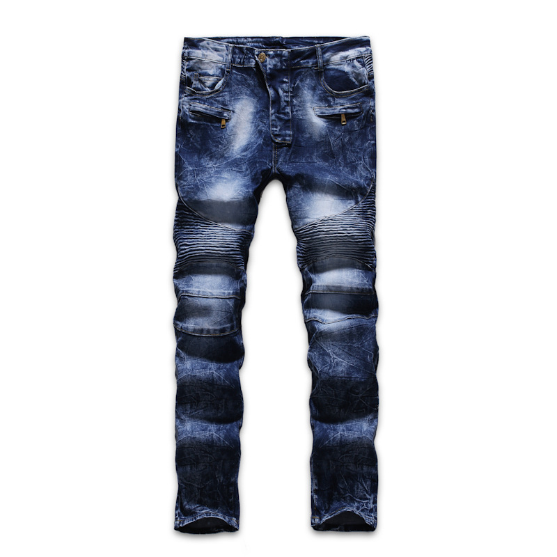 2019 New Style Men Fashion Pleated Multi-Craft Blue Jeans Trousers Leggings K019