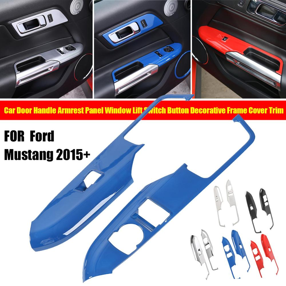 Interior door armrest window switch panel Cover trim for 2015-2016 Ford Mustang