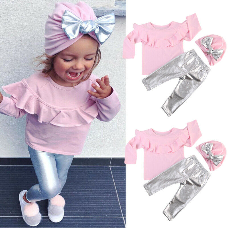 Toddler Baby Girls Clothes Pink Ruffles Long Sleeve Tops Bling Pants Leggings Hat Outfits Set