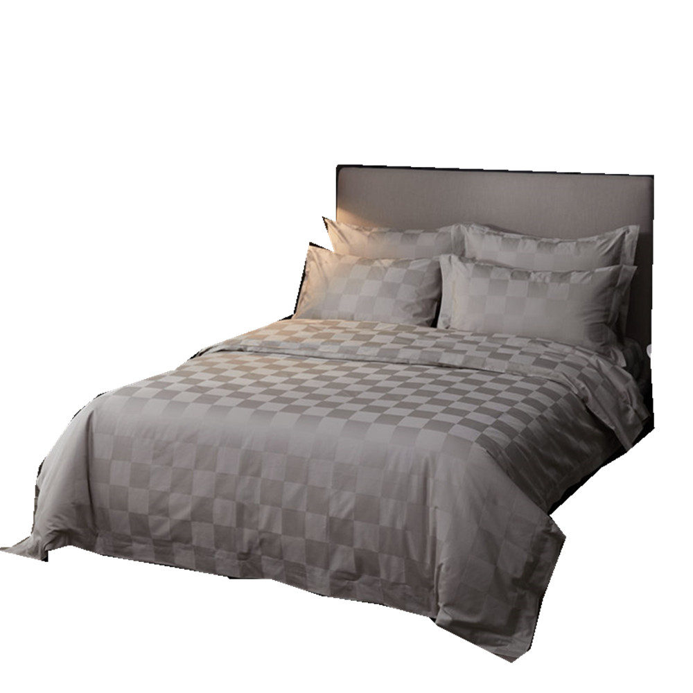 4pcs luxury hotel bed linen double queen king size bed sheets egyptian cotton grey bedding set checks jacquard bed covers sateen