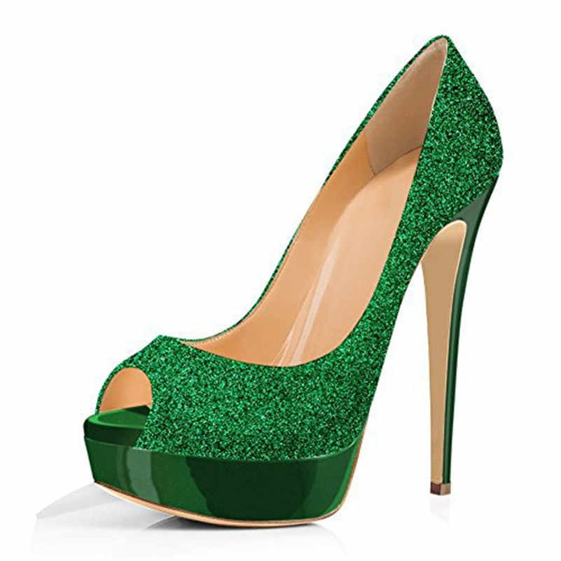 green sequin pumps