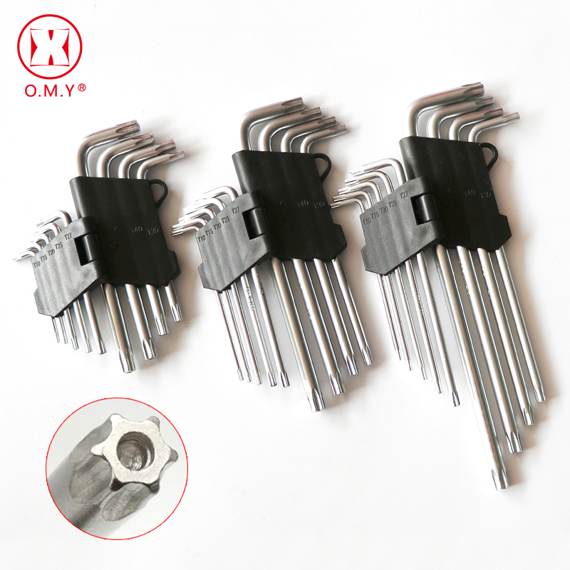 O.M.Y 9Pcs L Type Screwdriver Double-End Hex Wrench Set Allen Key Hexagon Torx Star Spanner Key Set Hand Tools Free Shipping Hot