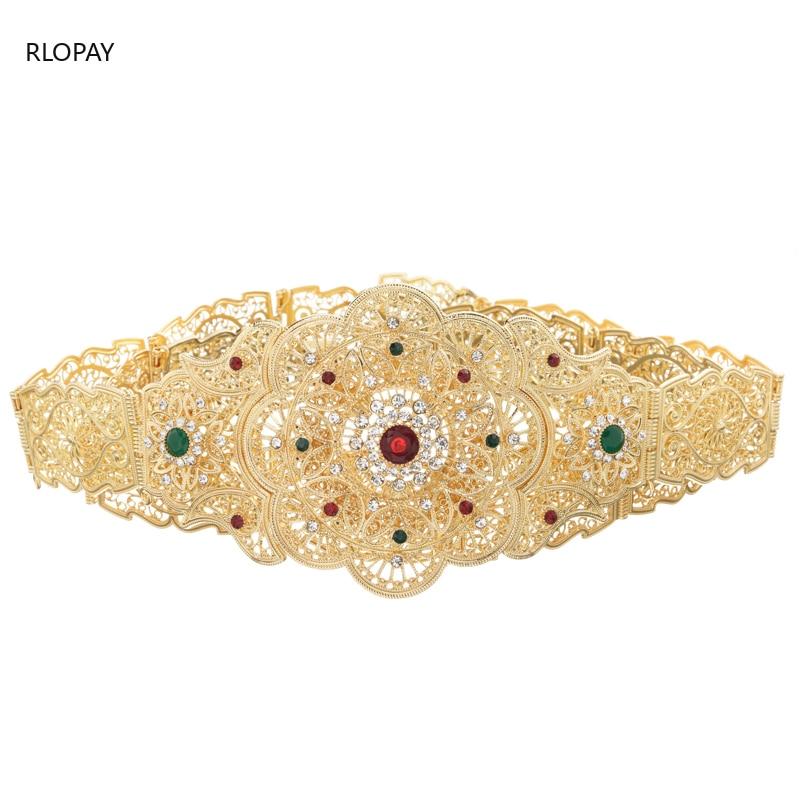 Image 2 - New Model Gold Waist Chain with Hollow Out Flower Belt Buckle  Arabic Royal Wedding Jewelry Belts Chic Kaftan BeltsBody Jewelry   -