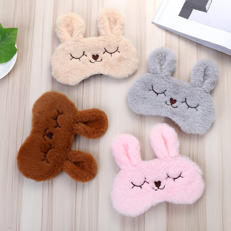 Cute Soft Eye Mask Super Soft Plush Cartoon Rabbit Eye Mask Cute Eyelash Sleep Shadow Eyepatch Sleep Aid 1PC