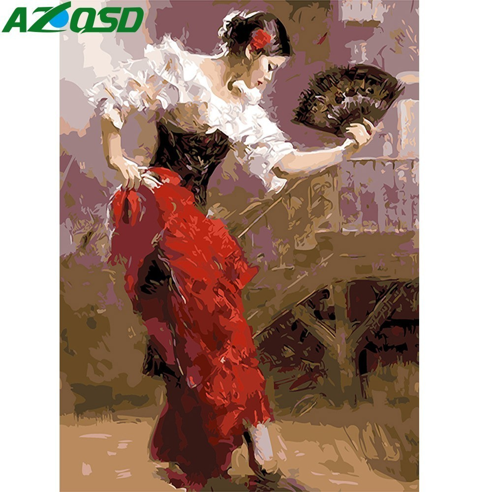 AZQSD Oil Painting Dancing Woman Painting By Numbers DIY Classical Dancer Paint Canvas Picture Hand Painted Modern K119