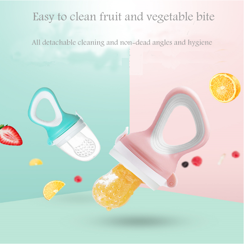 Baby Nipple Fresh Food Fruit Milk Feeding Bottles Nibbler Learn Feeding Drinking Water Straw Handle Teething Pacifier