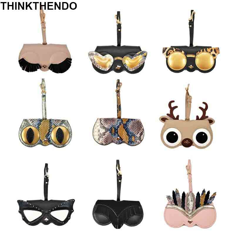 Women Sunglasses Case Cool Fashion Styles Soft PU Leather With Hanging Strap Eye Glasses Holder Protection Bag Travel