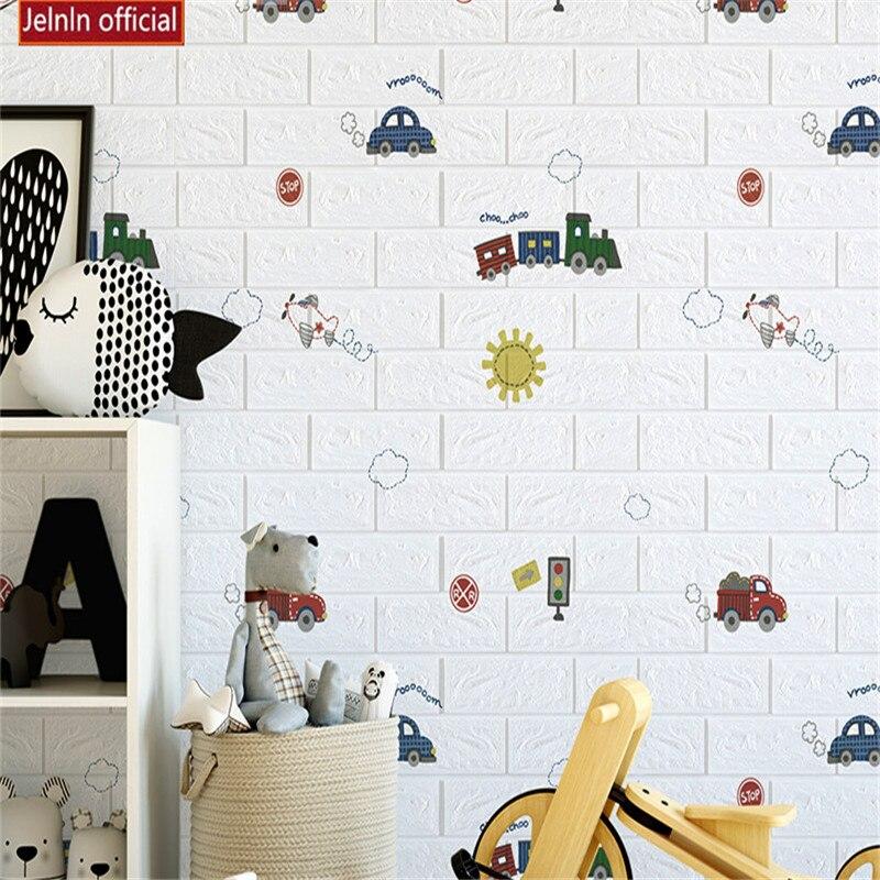3D blanc bulle bande dessinée voiture brique stickers muraux chambre d'enfants salon chambre anti-collision étanche sac souple papier peint