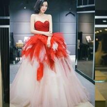 Novio blanco y burdeos vestidos de novia de color de vestido de boda de tul para boda Vestido boda traje mariage femme 2020