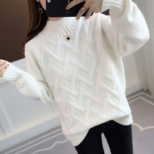 turtleneck knitted sweater pull femme hiver sueter mujer invierno 2019 pullover women tricot femme white black winter clothes