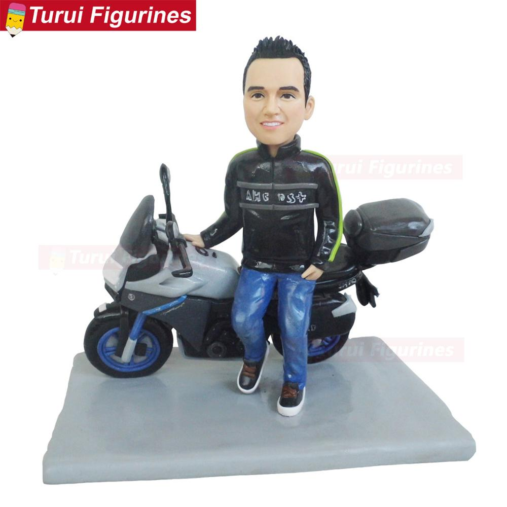 man guy with motorcycle lovers gifts birthday Motorcycle Championship Champion souvenir dolls sculptures title=