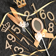 Cakelove 1Pcs Gold Diamond-studded Number0-9 Crown Collection Cake Topper for Party Decoration Dessert lovely Gifts