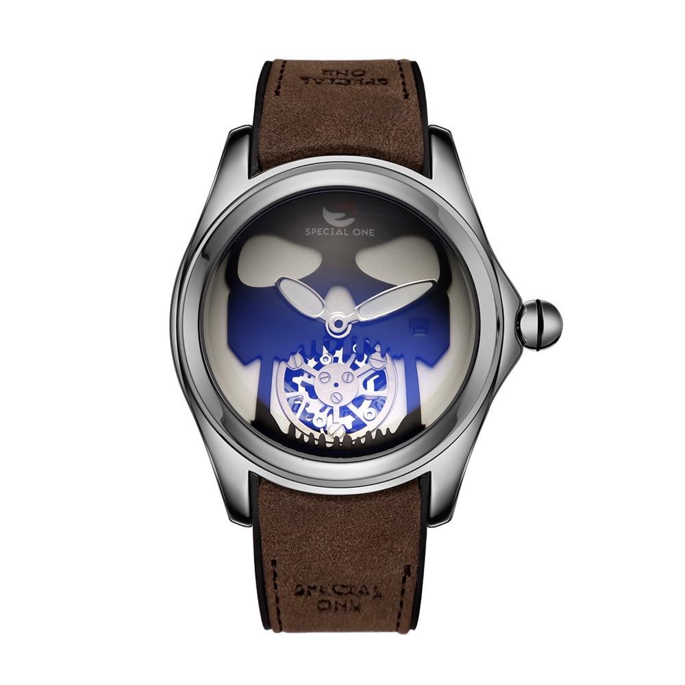 Men's watch fashion casual mineral tempered glass hollow skull design waterproof steel band business men's quartz watch