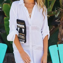 2019 Women Swimsuit Cover Up Sleeve Beach Tunic Dress Robe Biquini Solid White Cotton Pareo High Collar