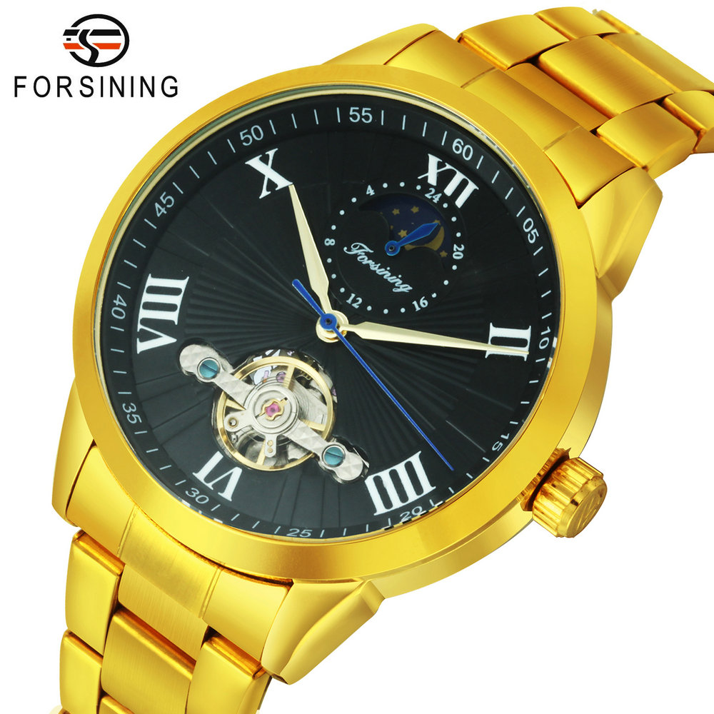FORSINING Business Automatic Watch Men Tourbillon Mechanical Watches Brand Luxury Sun Moon Phase Golden Steel Strap reloj hombre