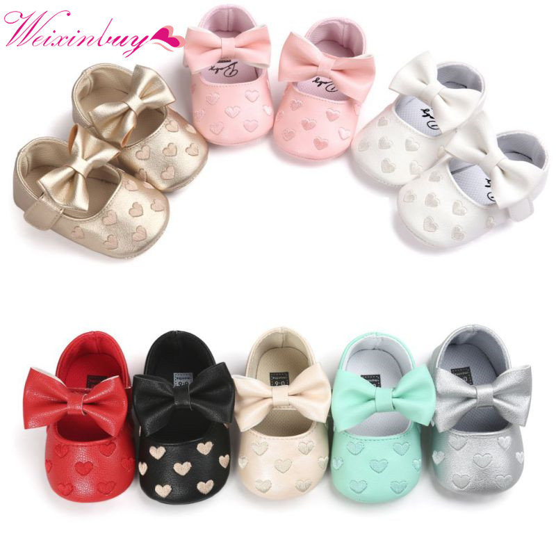 Newborn Baby Shoes Big Bow PU Soft Baby Girls Shoes First Walkers Fashion Princess Birthday Wedding Girls Shoes