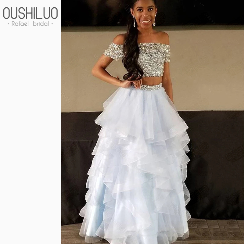 Shiny Sequined Two Piece Prom Dresses Off The Shoulder Tiered Ruffles Beading Crop Top Organza Skirt Puffy A Line Party Gown