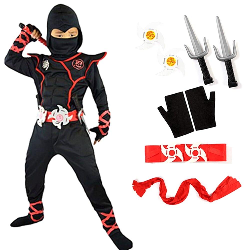 Ninja traje criança ninjago trajes de festa meninos halloween fantasia vestido anime cosplay guerreiro ninja terno crianças roupas macacão conjunto