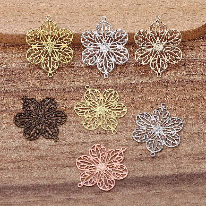 10 pçs/lote 20*26mm conector de flor de bronze filigrana pingentes diy colar pulseira brincos fazendo suprimentos jóias encontrando 0186