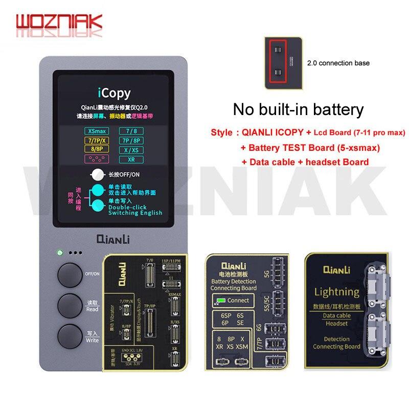 Nova qianli icopy 2.1 mais tela lcd instrumento de reparo fotossensível para 7 7p 8 x s xr xsmax 11pro max bateria fotômetro