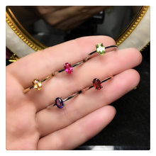 CMajor Sterling Silver Genuine Garnet Citrine Peridot Amethyst Red Corundum Gemstones Ring S925 Silver Jewelry For Women(China)