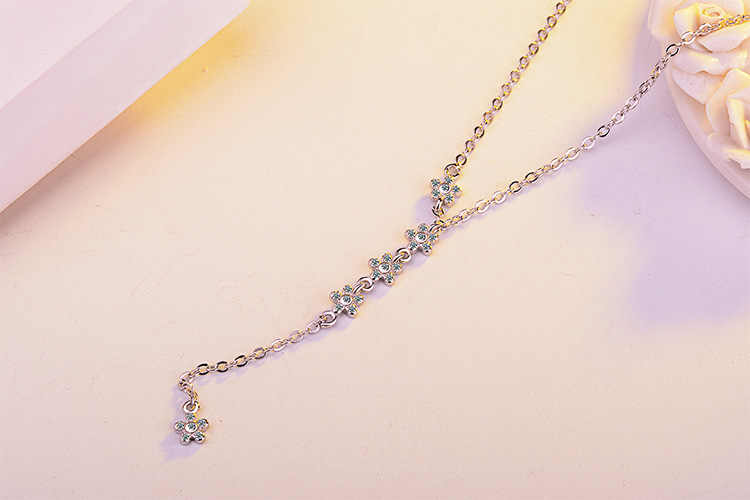 100% 925 Sterling Silver Elegant Flower Shine CZ Zircon Female Pendant Necklaces Jewelry Women Long Choker Chains No Fade Gift