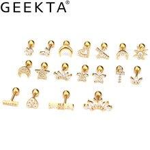 Cartilagem de aço inoxidável 1 peça, mini zircônia cúbica, estrela, floral, estrela, coração, cruz, charme, hélixe, piercing, parafuso traseiro joias,
