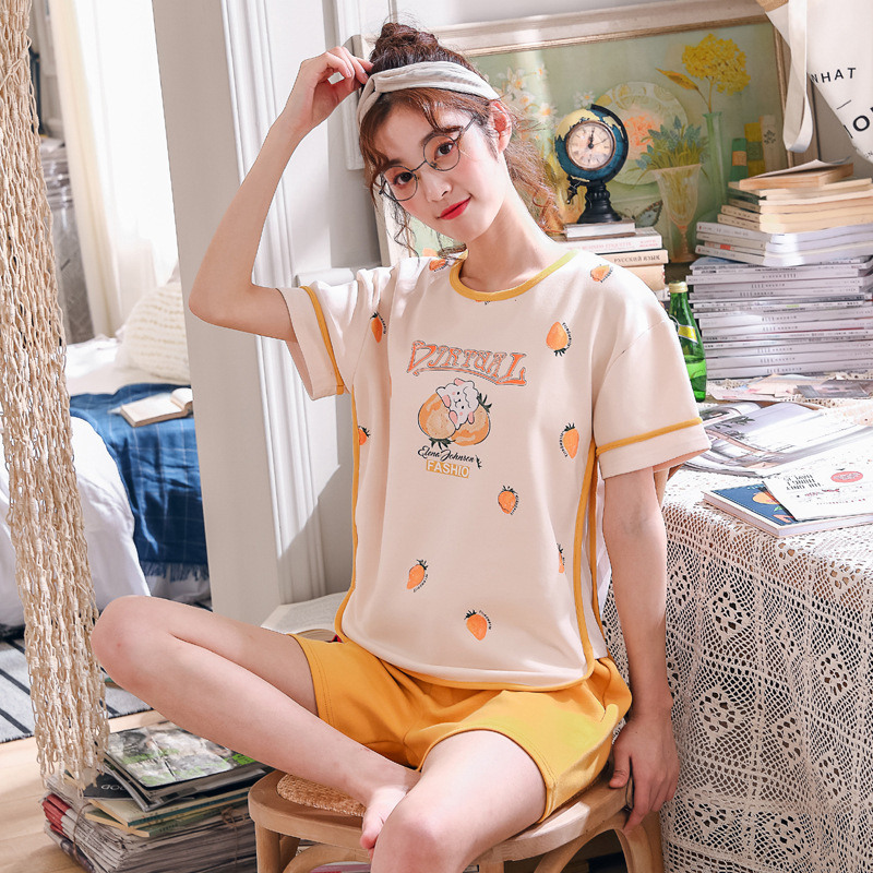 Pajamas Women's Summer Pure Cotton Short Sleeve Shorts Thin Korean-style Large Size Fresh Summer Cute Set Students Home Wear